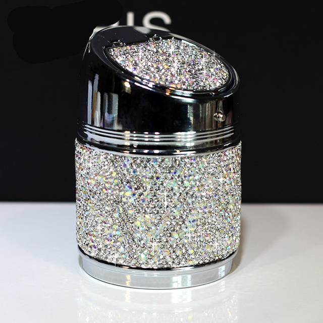Luxury Crystal Rhinestones Car ashtray Cup Holder Metal with Diamond Auto Ashtrays Portable High Class Gifts For Women Girls