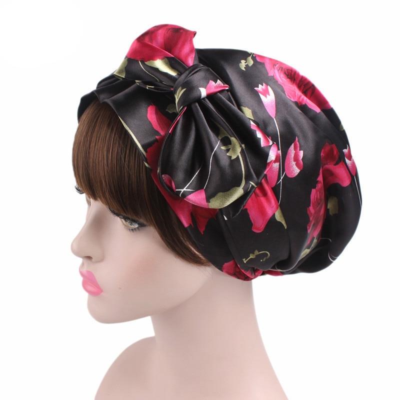 New Style Women Hats Floral Turban Hat Cap Muslims Cap Flower Bonnet Beanie Arab Amira Headwear Satin Turban Islamic Bow Cap New