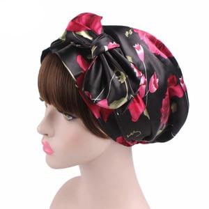 Image 1 - New Style Women Hats Floral Turban Hat Cap Muslims Cap Flower Bonnet Beanie Arab Amira Headwear Satin Turban Islamic Bow Cap New