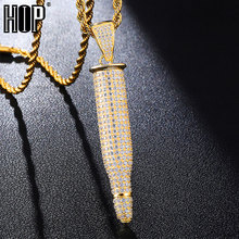Hip Hop Bling Iced Out Bullet With AAA Cubic Zirzonia Stone Necklace & Pendants For Men Jewelry