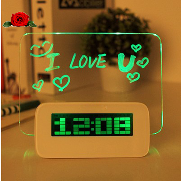 led background projection desktop light digital alarm clock with message board calendar thermomete gadgets cool clocks