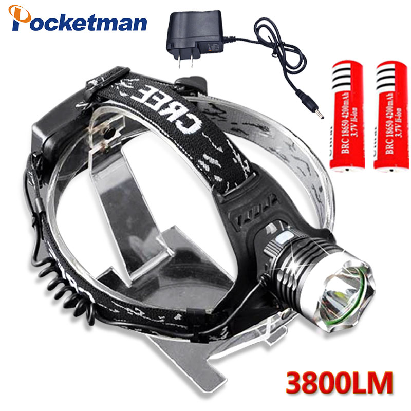 3800LM LED Headlamp Headlight CREE T6 LED Powered Head Lamp Torch LED Flashlight Biking  ...
