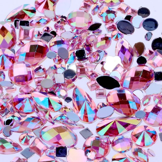 Mixed 300pcs Crystal Clear AB Nail Art Rhinestones DIY Non Hotfix Flatback Acrylic Nail Stones Gems For 3D Nails Art Decorations