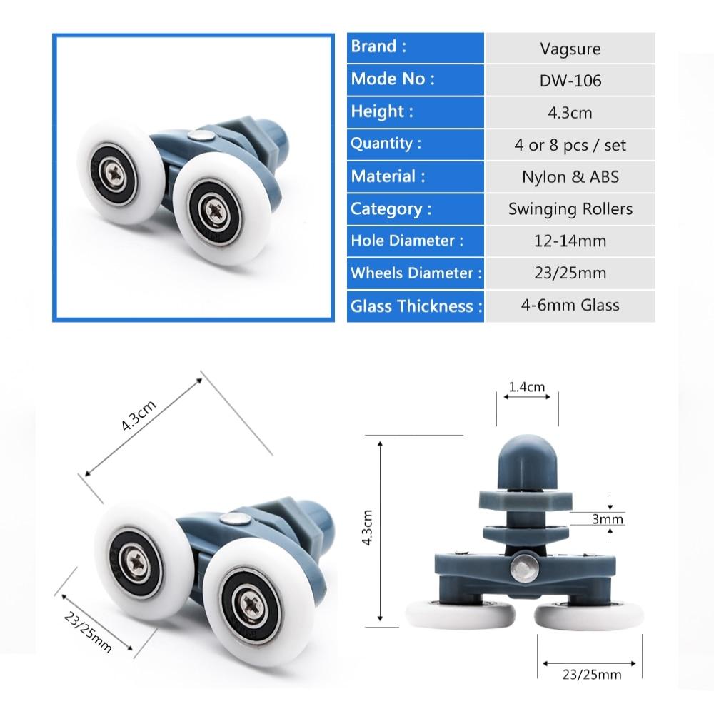 4pcs-8pcs/set Diameter 23mm 25mm ABS Plastic Adjustable Double Swinging Pulley Wheel Shower Cabin Sliding Door Hardware Roller-1
