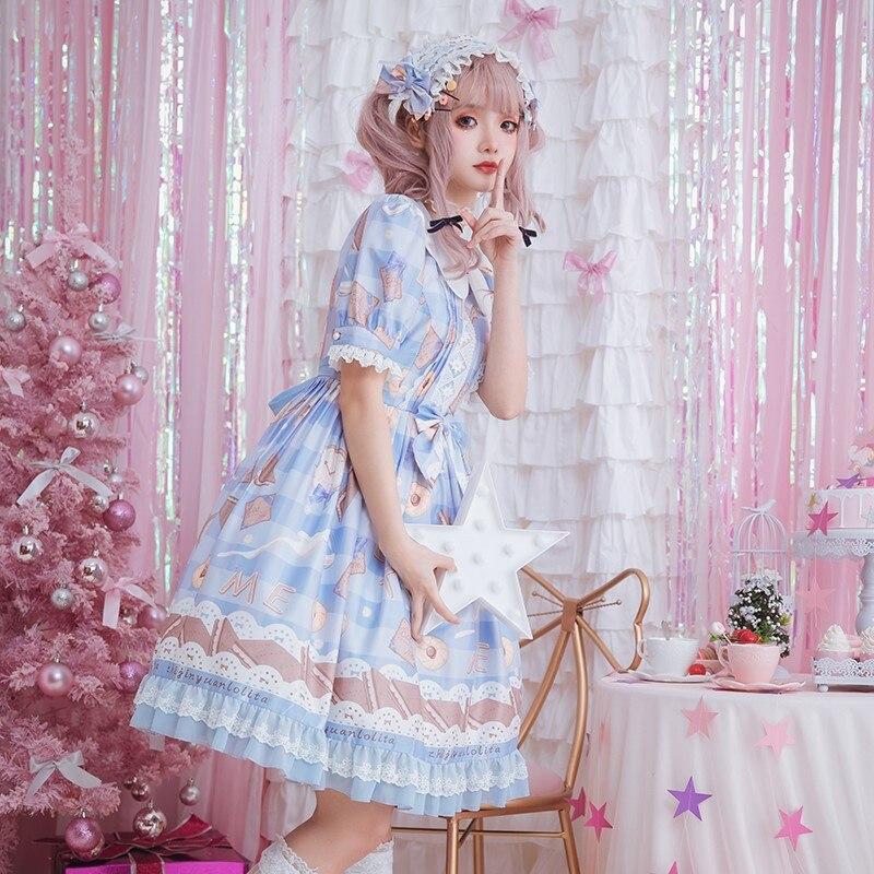 Milk Cookies Sweet Short Sleeve Printed Lolita Dress