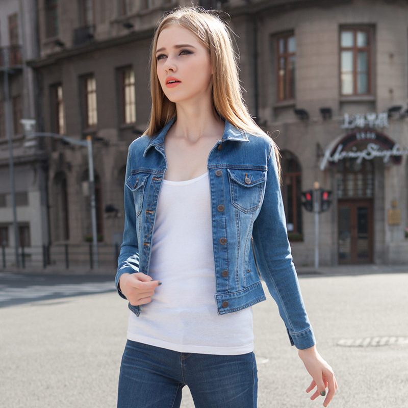 5e33e2b0d1 2015 spring elastic waist jeans stretch denim jackets for women girls jean  short jacket slim long sleeve big Code 2015 spring XL-in Basic Jackets from  ...