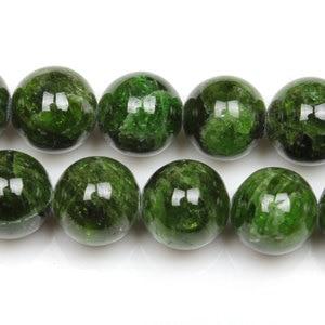 Image 2 - 7 14mm Naturale Verde Diopside Gemma Perline di Pietra Rotonda Sciolto Perline FAI DA TE Per Monili Che Fanno perline Accessori 15 donne degli uomini del Regalo