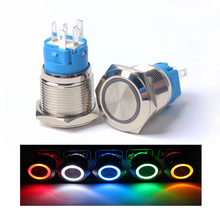 19mm flat Round head Waterproof Momentary/Latching Metal Push Button Switch LED Light Car Horn Auto Reset switches Power стоимость