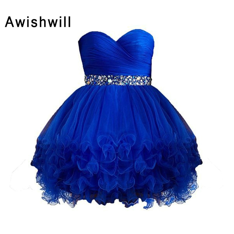 Custom Made Sexy Short Homecoming Dress with Rhinestones Beaded Ruffles Tulle Real Picture Robe De Cocktail Party Dress