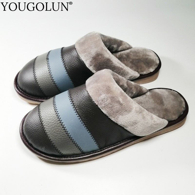 Winter Indoor Slippers Men Genuine Cow Leather Fashion Male Warm Shoes A266 Men Casual Sewing Striped Black Brown Flat Slipper