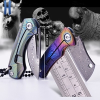 Mini Folding Paper Out Of The Box Folding Knife Pocket Carry EDC Key Ring Necklace TC4 Titanium Damascus Blade