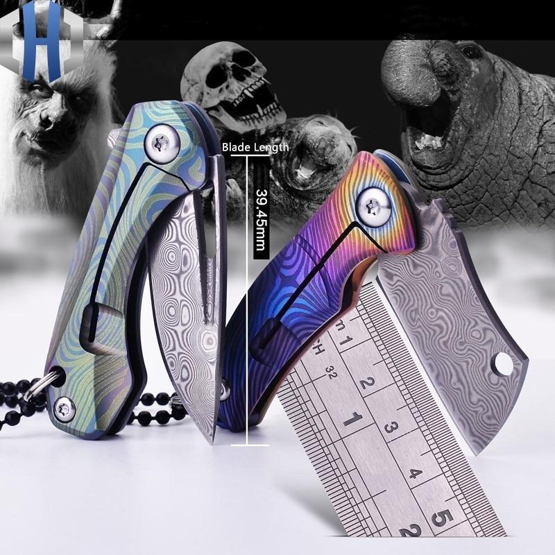 Mini Pliage Papier Hors De La Boîte Couteau Pliant Pocket Carry EDC Porte-clés Collier TC4 Titane Lame Damas