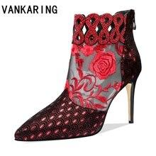 ماركة جلد الغنم جلد + شبكة مضخات هواء موضة حذاء من الجلد للنساء مثير أشار تو كاوبوي أحذية امرأة عالية الكعب الصيف الأحذية
