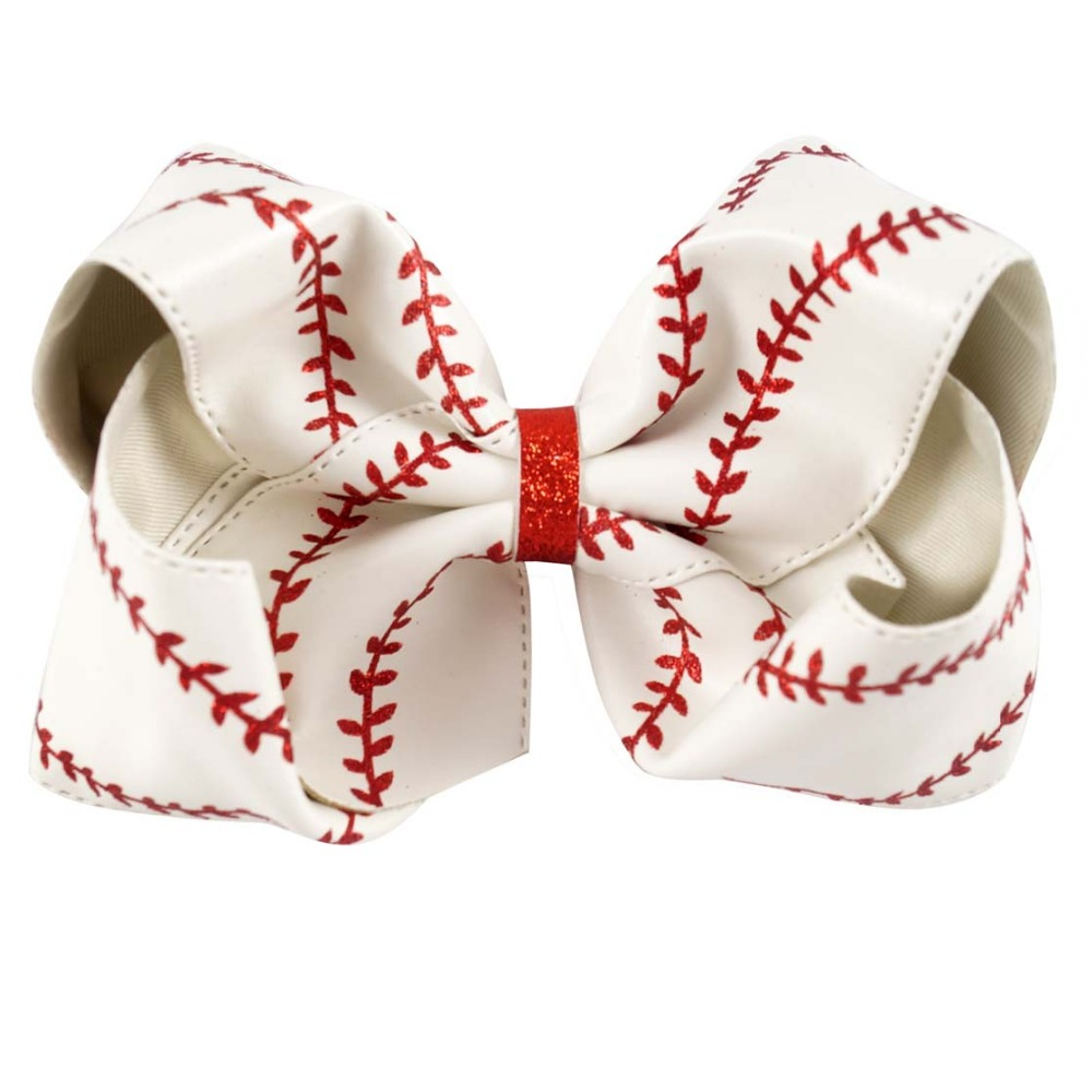 "Image 3 - 7"" Large Leather Baseball Hair Bow With Hair Clip For Kids Girls Handmade Big Glitter Softball Bow Hairgrips Hair Accessories-in Hair Accessories from Mother & Kids"
