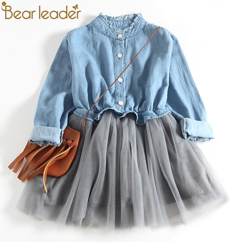 все цены на Bear Leader Girls Dresses 2018 New Fashion Princess Clothing Cowboy Stitching Net Yarn Ball Gown Girls Dresses Clothes For 3-7Y онлайн