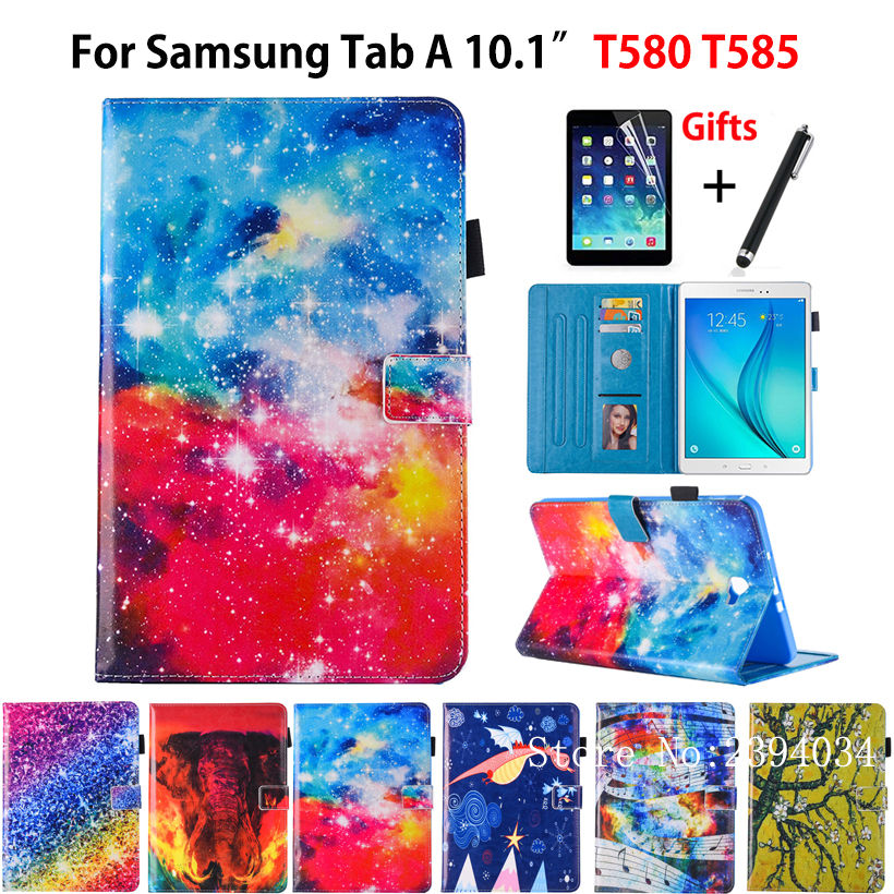 Luxury Case For Samsung Galaxy Tab A a6 10.1 2016 SM-T580 T585 T580 T585N Smart Cover Funda Tablet Leather Stand Skin+Film+Pen