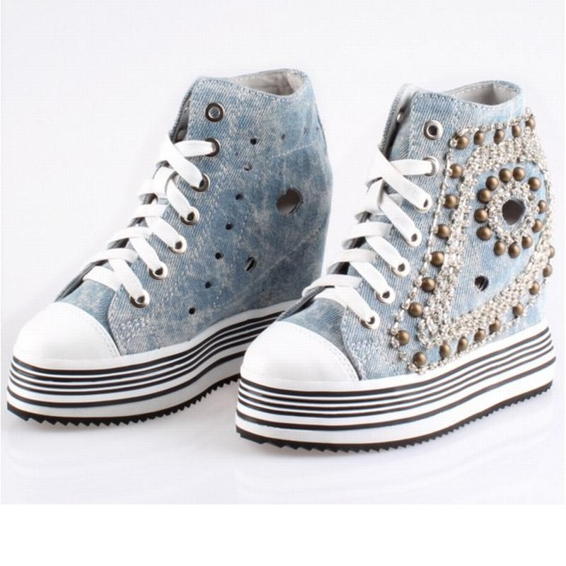hot sale punk rivets summer high top lace up cut-outs breathable denim canvas casual shoes platform working travel walking boots men casual shoes 2017 hot sale patch work canvas shoes lace up flats fashion cut outs design high top male trainers shoes