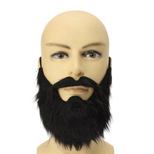 2016 Hot Sell Fake Beard Black Bearded Man Funny Mustache Beard Flannel Halloween Party Props 5zHH058(China)
