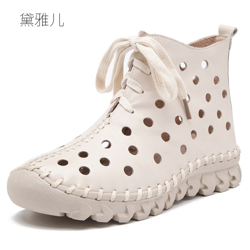 Summer Style 2018 White Heel Flat Ankle Boots for Women Genuine Leather Ladies Shoes Woman Girl Breathable Red Black Lace-up high quality full grain genuine leather women motorcycle ankle boots 2016 black white lace up fashion ladies flat casual shoes