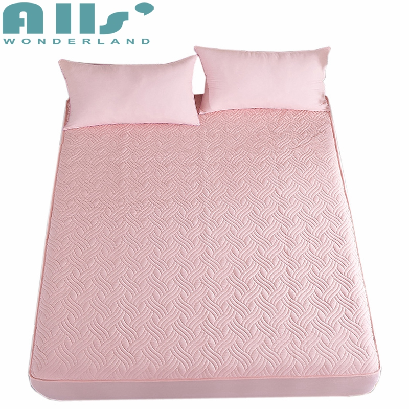 Elastic Fitted Sheet Washed Scrub Mattress Protector With Solid Color Brief Style Bed Sheets Fashion Design Bed Mattress Cover