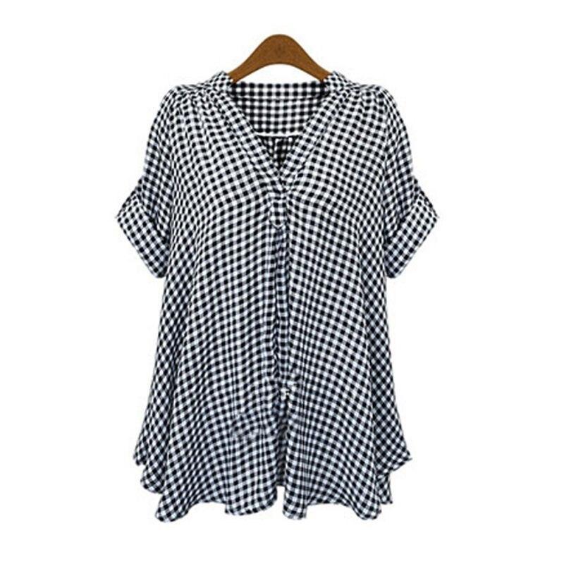 Las mujeres Más Tamaño Suelta de Algodón Camisa de Manga Corta A Cuadros Informa