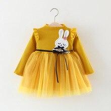 Girls Fall Cartoon Dress Korean Children Female Dresses 0-3 Years Baby Clothes