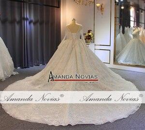 Image 4 - Robe de soiree casamento 2019 beading completo vestido de casamento espumante 100% alta qualidade trabalho real