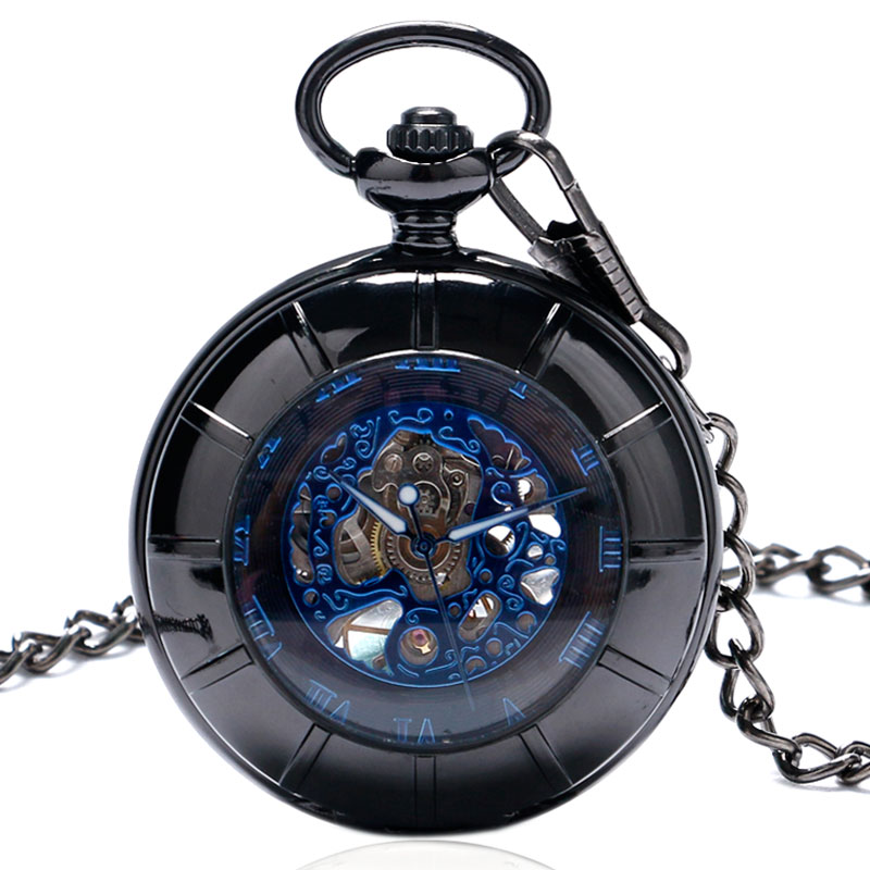 Black Hollow Case Blue Roman Numerals Skeleton Steampunk Mechanical Pocket Watch Hand-winding with Chain Gift Men Women Clock retro luxury wood circle skeleton pocket watch men women unisex mechanical hand winding roman numerals necklace gift p2012c