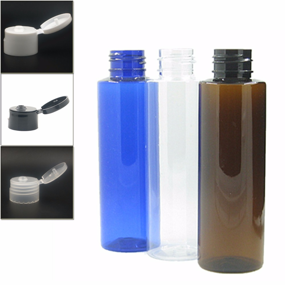 100ml Empty Clear/blue/amber Cylinder Plastic Bottles Pet Bottle With White/black/transparent Flip Tops Cap X5