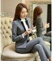 Primavera Outono Senhoras Blazer Preto Mulheres de Negócio Ternos Escritório Formal Ternos Trabalho Desgaste Roupas Calça e Jaqueta Conjunto Elegante