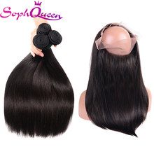 Soph Queen Hair 360 Lace Frontal Closure With Bundles Brazilian Straight Human Hair Weave Bundles With Closure Remy Hair(China)