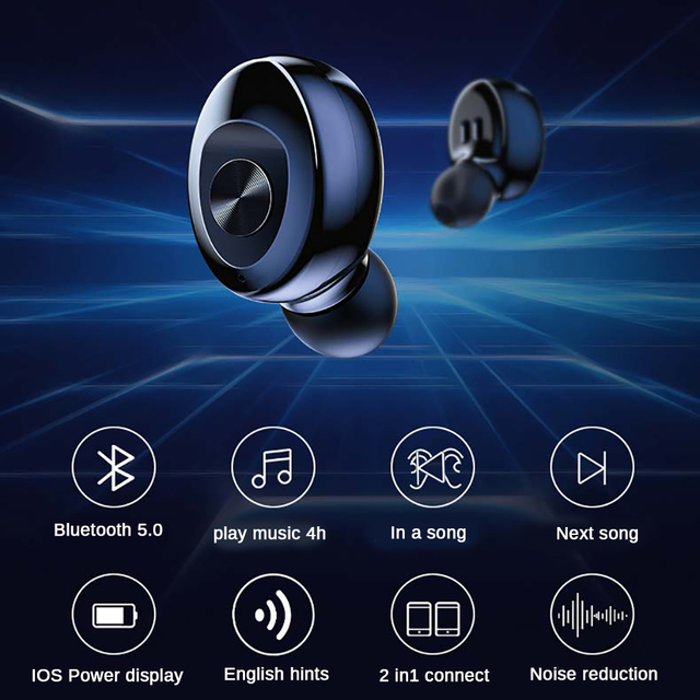 XG12 TWS Bluetooth 5.0 Earphone Stereo Wireless Earbus HIFI Sound Sport Earphones Handsfree Gaming Headset with Mic for Phone 3