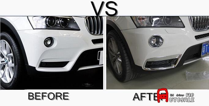Pour BMW X3 F25 2011 2012 2013 ABS Chrome extérieur avant antibrouillard couvercle de lumière garniture 4 pièces brillant