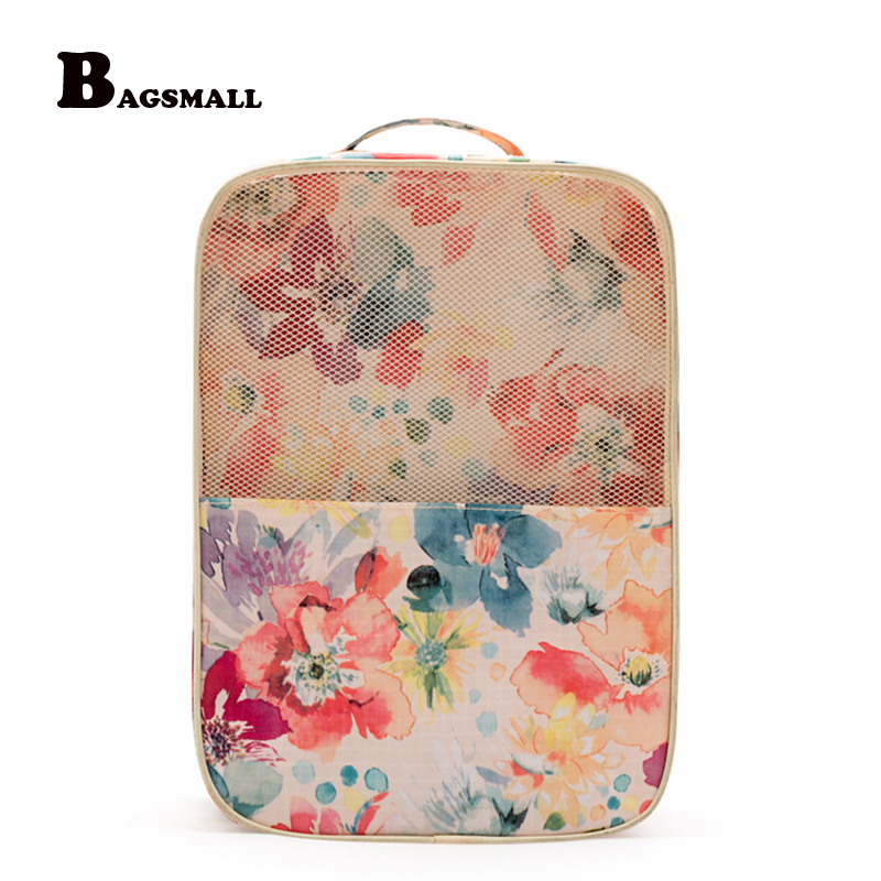 BAGSMALL Flower Printed Shoe Bag Waterproof Travel Storage Bags For Heels Luggage Organizers Portable Shoes Storage Pouch