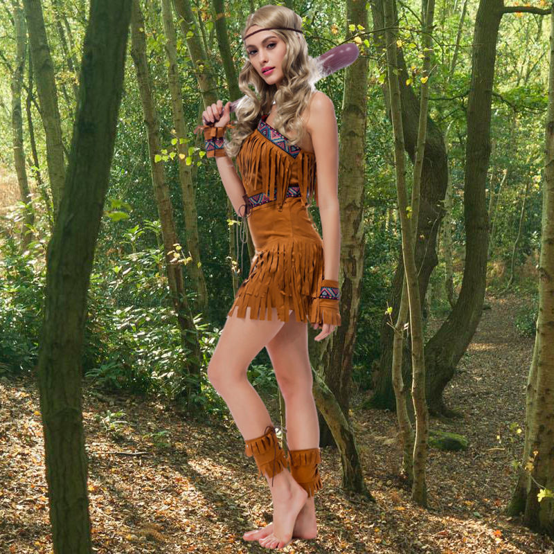 Halloween Sexy American Indian Women Adult Cosplay Costume Brown Dress Outfit Full Sets Tassel skirt costume