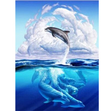 Marines life DIY Diamond Painting double dolphins full square embroidery round  painting Mosaic sea