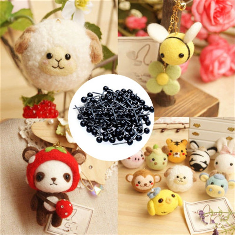 200pcs Mini Glass Black//Blue//Amber//Clear Eyes Kits For Toy Teddy Puppets Dolls Wool Felting Crafts