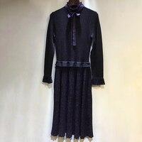 Женское Элегантное Длинное платье Весна Лето Плиссированное Платье женское с длинным рукавом Брендовое дизайнерское платье высокого каче