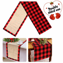 OurWarm 14*72 inch Burlap Buffalo Check Table Runner Christmas Reversible Buffalo Plaid Table Runner for Home Table Decoration цена