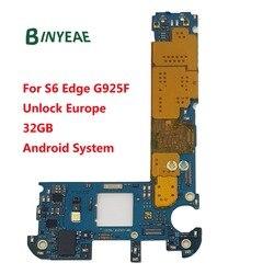 Binyeae 원래 잠금 해제 메인 마더 보드 32 기가 바이트 삼성 갤럭시 s6 가장자리 g925f 잠금 해제 유럽 안드로이드 시스템