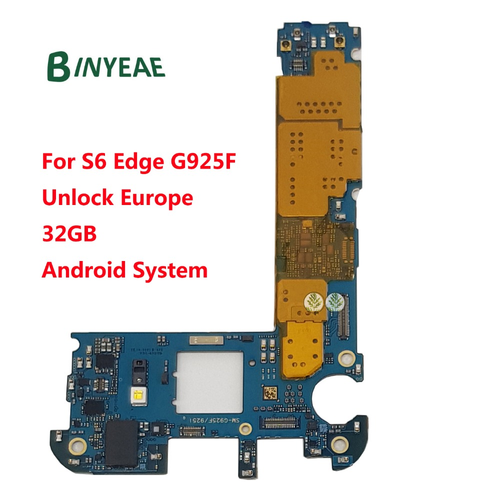 Binyeae original desbloqueado principal placa-mãe 32 gb para samsung galaxy s6 edge g925f desbloquear sistema android europa