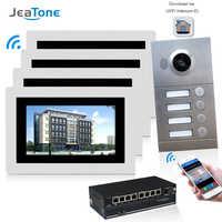 WIFI IP Video Door Phone Intercom System Video Doorbell 7'' Touch Screen for 4 Floors Apartment/8 Zone Alarm Support Smart Phone