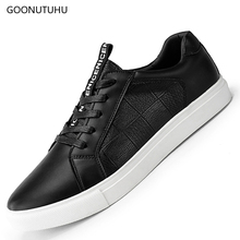 2019 new mens casual shoes leather breathable black platform man young students four season fashion for men lace-up