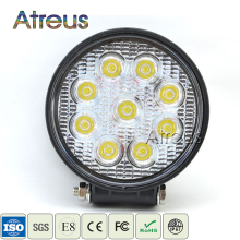 Atreus 4Inch 27W 9X 3W Round Car LED Work light 12V Spot Flood Waterproof For 4x4 Offroad ATV Truck Driving Fog Lamp accessories