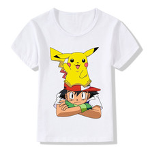 2017 Children Cartoon Pokemon Go Funny T-Shirts Kids Summer Tops Boys/Girls Short Sleeve Clothing Pikachu Baby Tee shirt,HKP2171