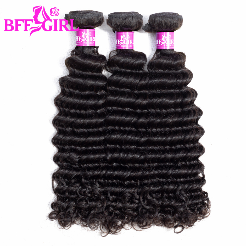 BFF GIRL Peruvian Deep Wave Hair Bundles 3pcs/lot Human Hair 300g Natural Color Non Remy Hair Weaves Extension Free Shipping