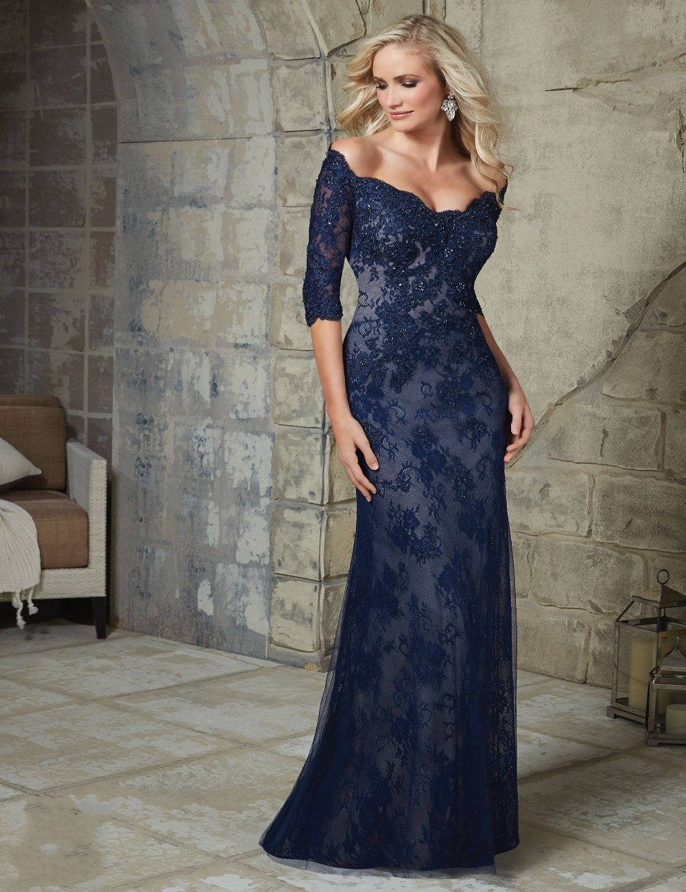 e6648bf0e4ce9 Vestidos De Fiesta 2016 New Design Navy Blue Lace Evening Dress Party  Formal Gowns Custom Made Mother Of The Bride Dresses 2016-in Evening  Dresses from ...