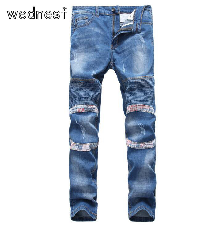 #1531 2017 Streetwear Jogger jeans Fashion Skinny Mens biker jeans Pleated Punk men Distressed Mens biker Elastic Moto jeans