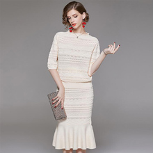 Spring autumn Women two piece set Knitted sweaters + Wrapped fishtail skirt Solid color Suit