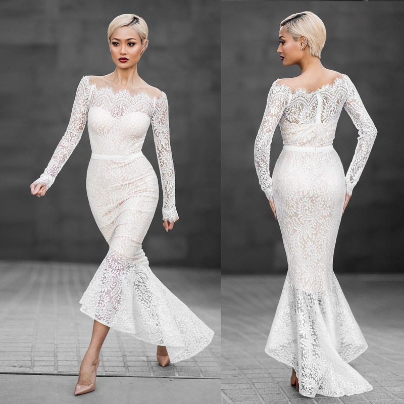 Designer Evening Dresses Sale On White: Luxury White Lace Sexy Party Long Dress Women Vintage Long